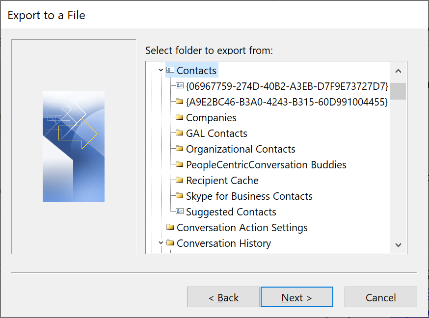 Some of the many ways to Export Outlook Contacts