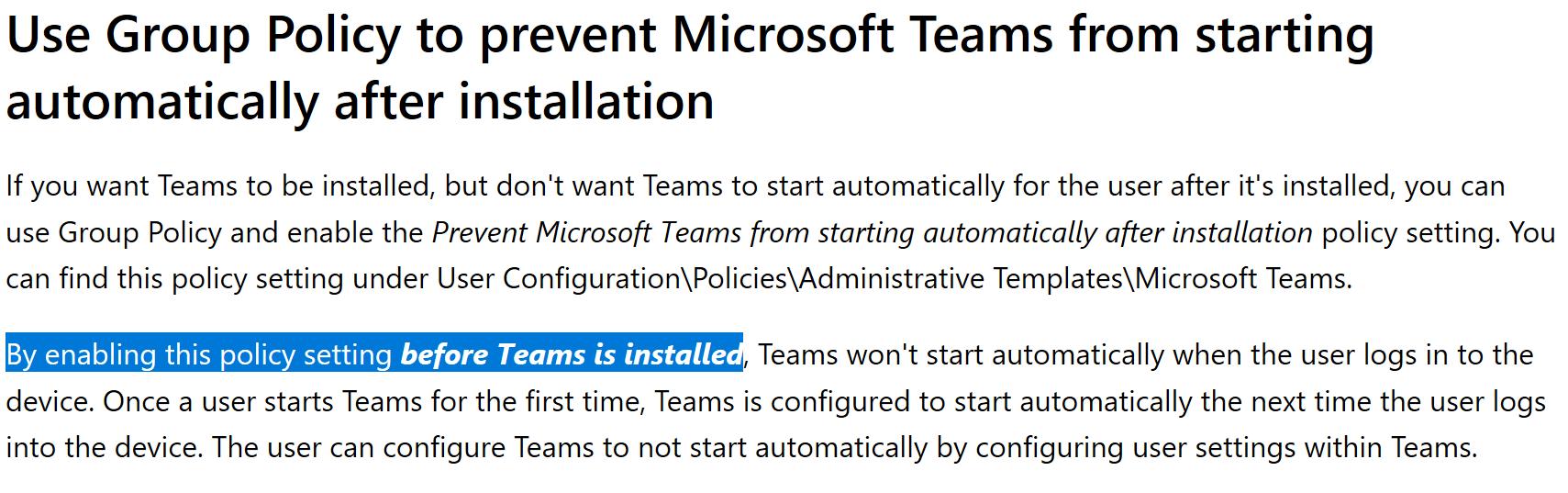Disabling Teams AutoStart – Undocumented Features